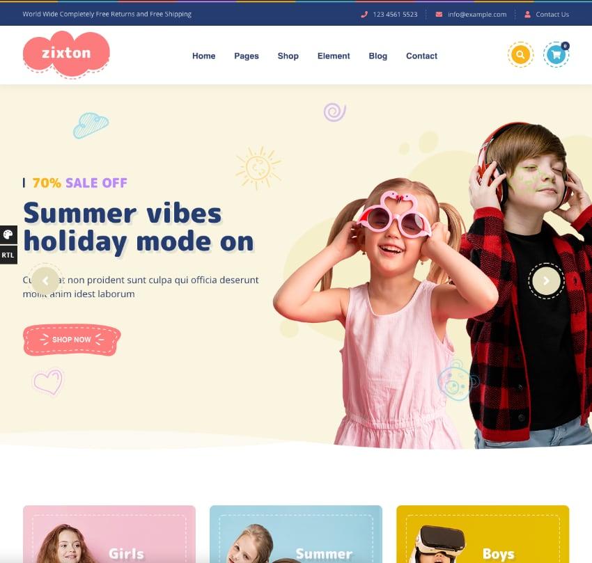 Zixton—Baby Fashion WooCommerce Theme