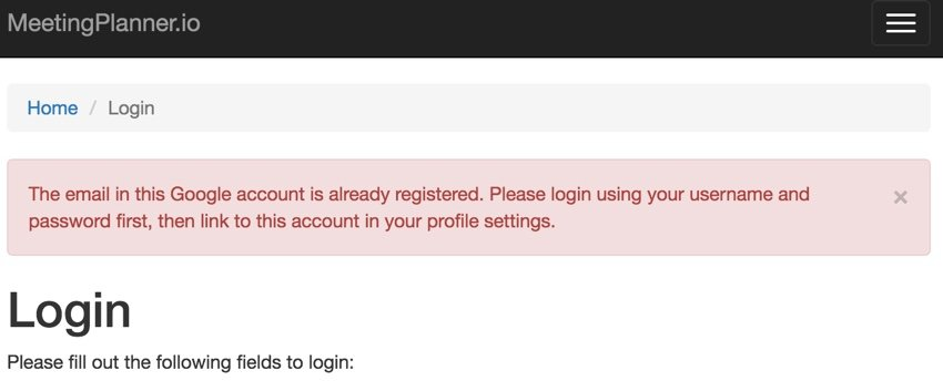 Building Your Startup OAuth - Error Msg for We have Your Email Previously