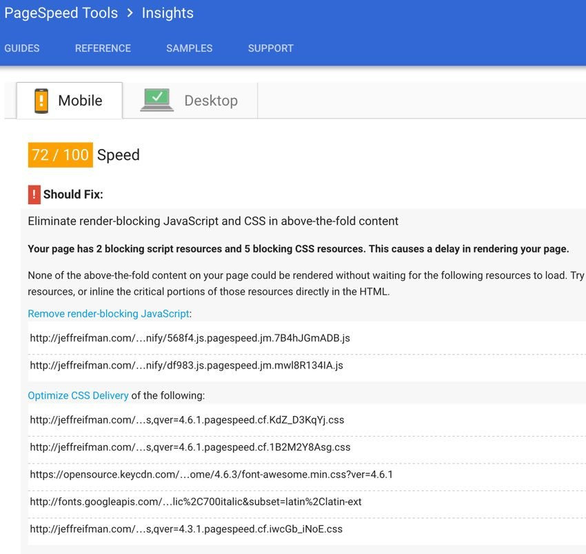 Google PageSpeed Module - After Test 72 for Mobile PageSpeed