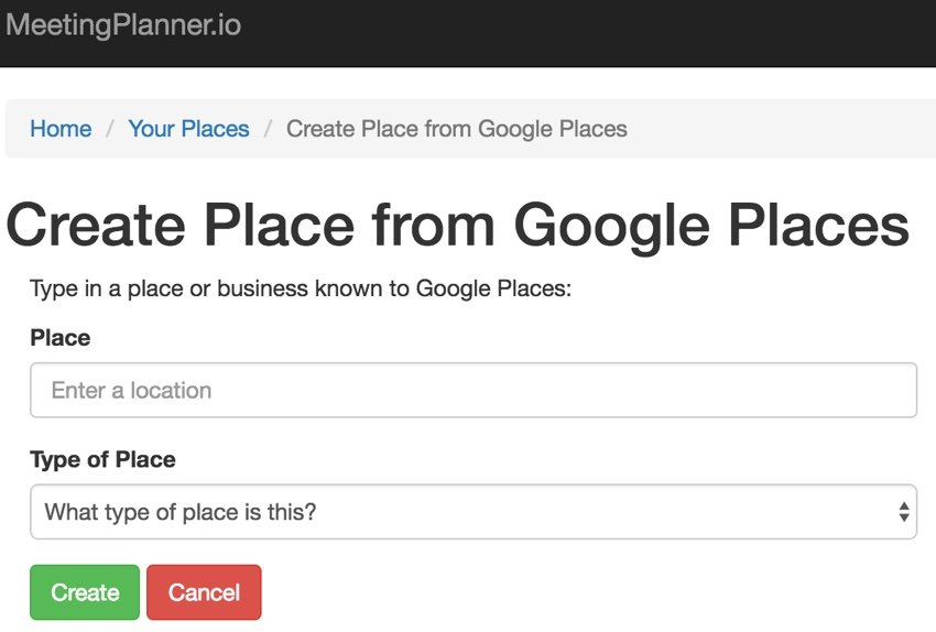 Yii Ajax - Create a Place in Meeting Planner Using Google Places