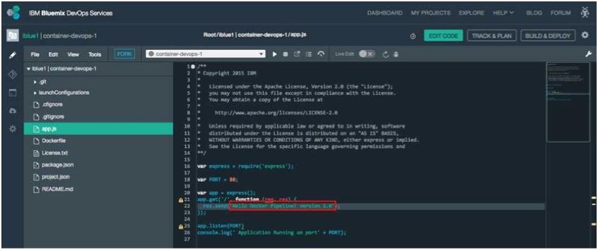 IBM BlueMix and DevOps - appjs in viewer