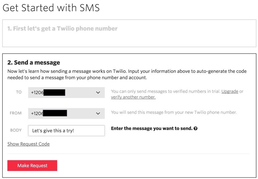 Building Startups Text and SMS - Twilio Test Send a Message