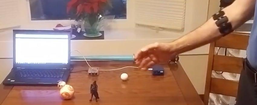 IBM Bluemix IoT Arm Gestures - View of BB-8 Darth Vader Golfball Raspberry Pi and Myo Armband