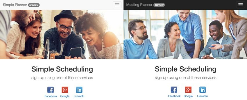 Building Your Startup - Side by side looks at Simple Planner vs Meeting Planner home page