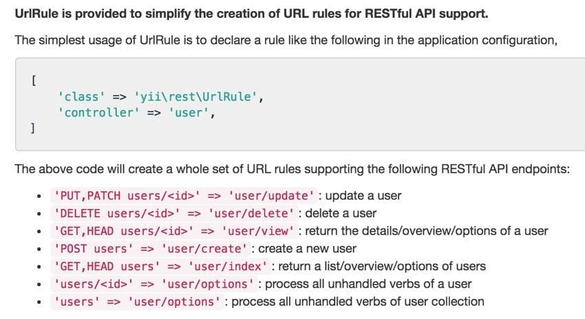 Programming Yii2 REST API UrlRule Documentation of CRUD API endpoints