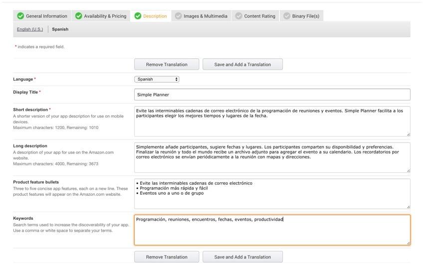 Amazon Appstore - The App Description Translation in Spanish