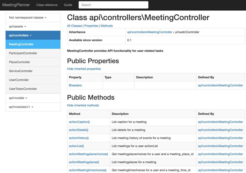 Programming With Yii Generating Documentation - MeetingController Example
