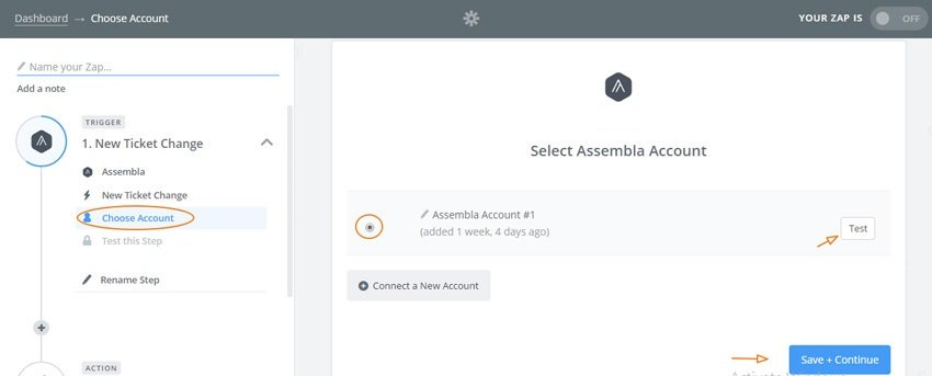 Assembla Zapier Automated Workflow - Choose your Assembla account