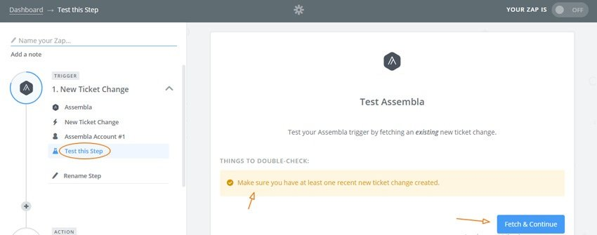 Assembla Zapier Automated Workflow - Test assembla with a new ticket change