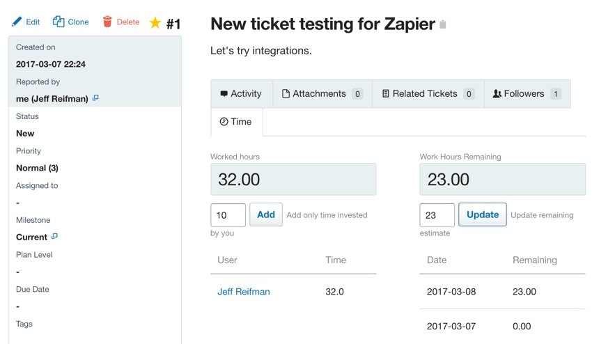 Assembla Zapier Automated Workflow - Entering Hours on an Assembla Ticket