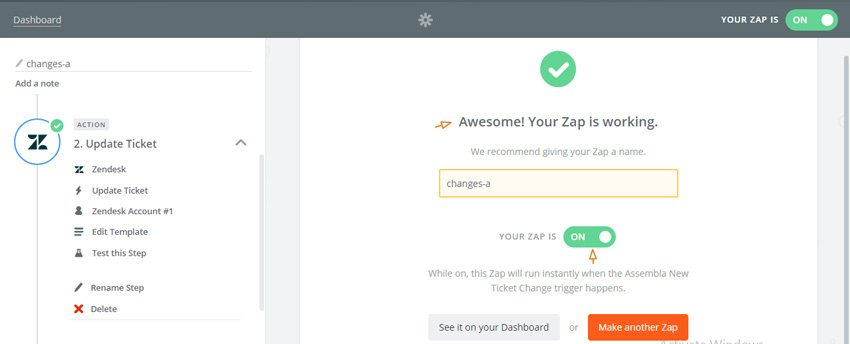 Assembla Zapier Automated Workflow - Your Zap is Working