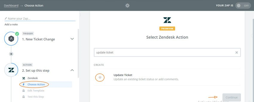 Assembla Zapier Automated Workflow - Select our Zendesk Action