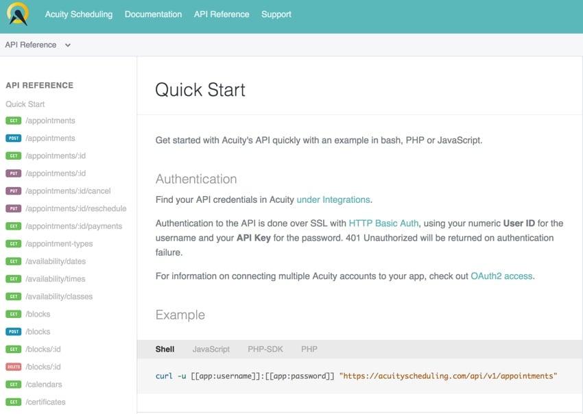 Acuity Scheduling Developer Platform - API Quick Start