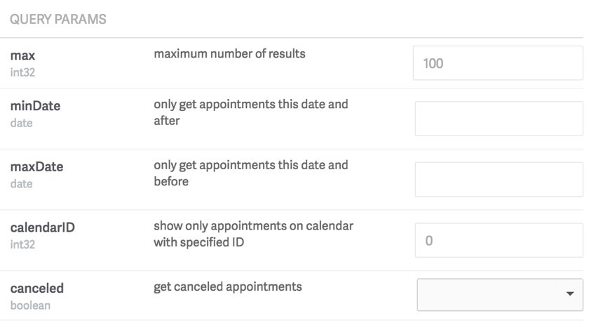 Acuity Scheduling Developer API - Query params for appointments