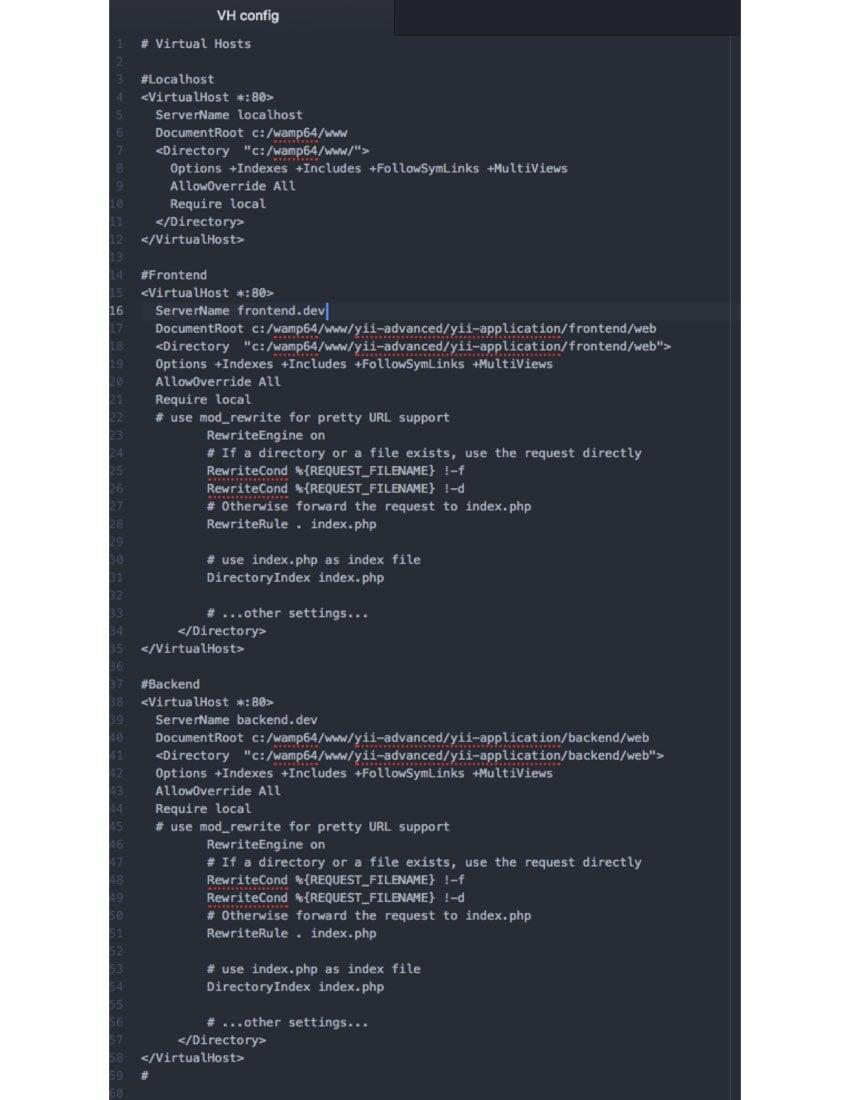 Install Yii on Windows or a Mac - Windows Virtual Host Config
