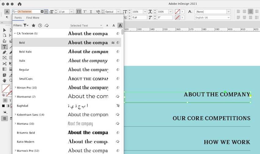 Troubleshooting Missing Font InDesign Tutorial font menu in indesign