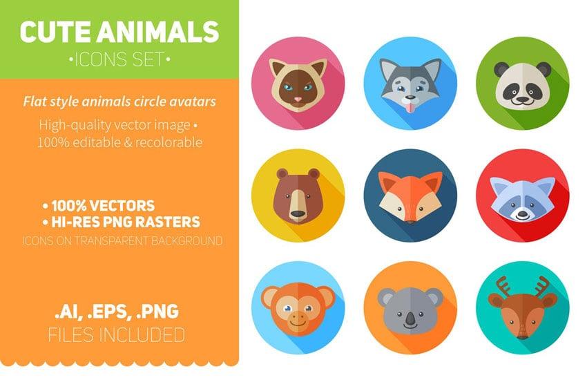 Flat Animal Icons Set
