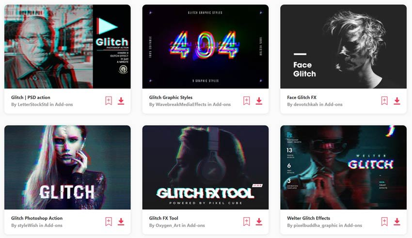 Glitch Effect Photoshop Add-Ons available from Envato Elements