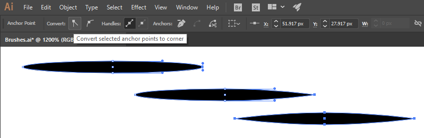Convert selected anchor points to corner