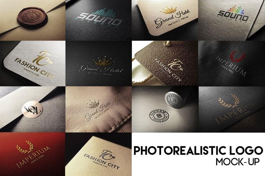 Photo realistic logo mock up pack