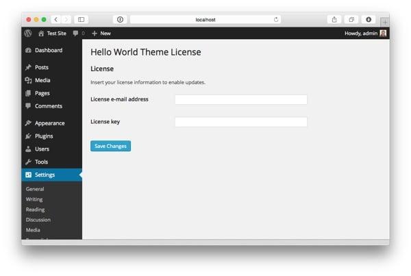 License settings screen