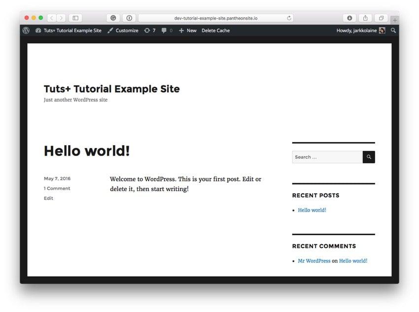 The new WordPress site running the Twenty Sixteen theme