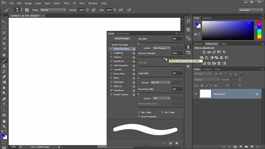 Changing Brush Settings in Shape Dynamics