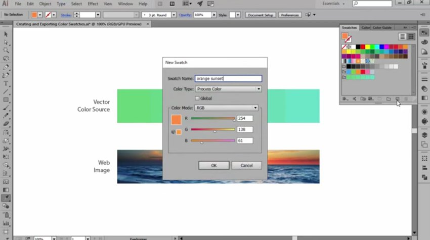 Adding Illustrator Color Swatches with the Eyedropper Tool