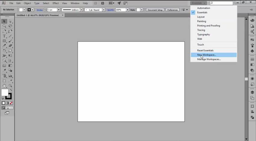 Creating a New Workspace in Adobe Illustrator