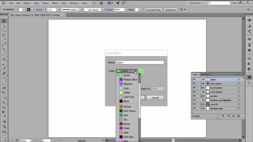 Color Coded Layers in Adobe Illustrators Layers Panel