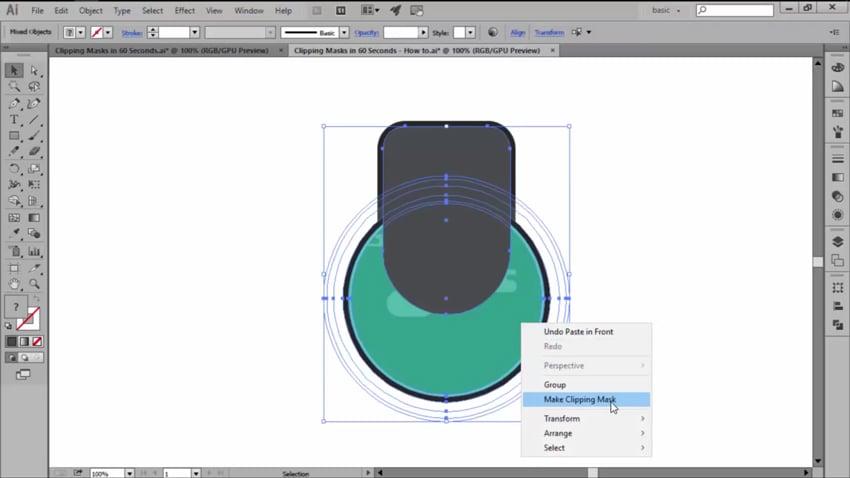 Make Clipping Mask option in Adobe Illustrator