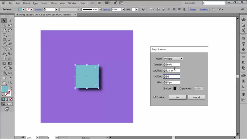 Changing the Offsets for Drop Shadow in Adobe Illustrator