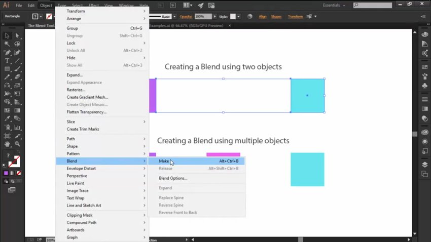 Creating a Blend with the Blend Tool