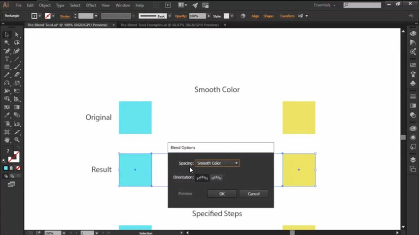 Smooth Color Blend Options for the Blend Tool