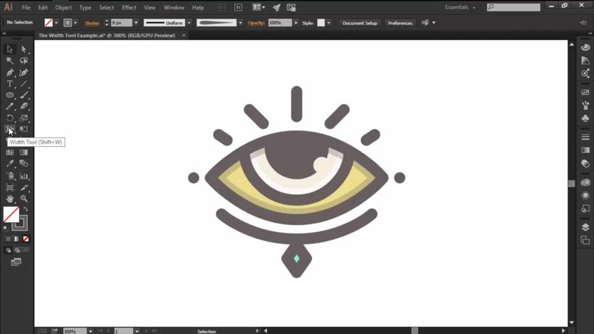 Access the Width Tool on the Left Panel of Ilustrator