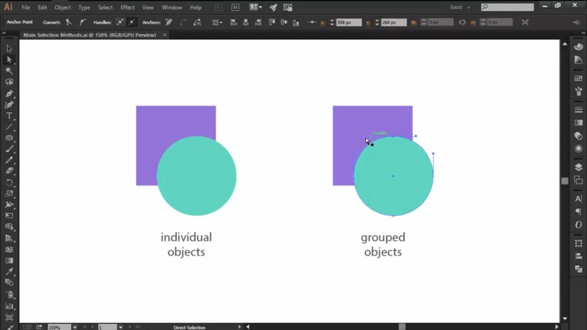 Using the Direct Selection Tool in Adobe Illustrator