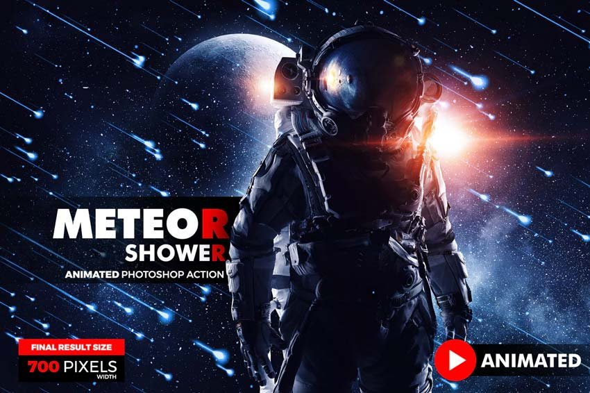 Animated Meteor Shower Photoshop Action