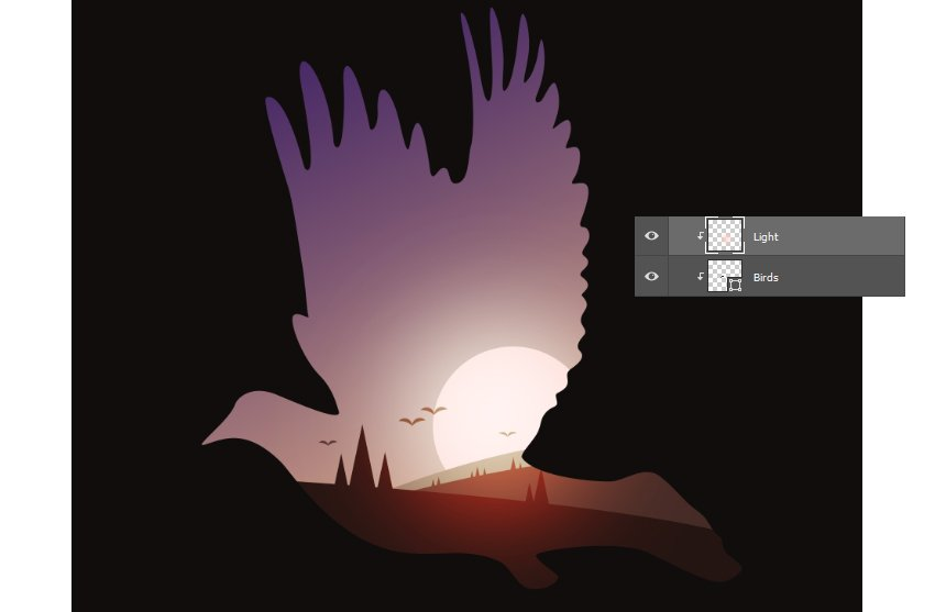 Add Sunlight with Vivid Light and the Brush Tool