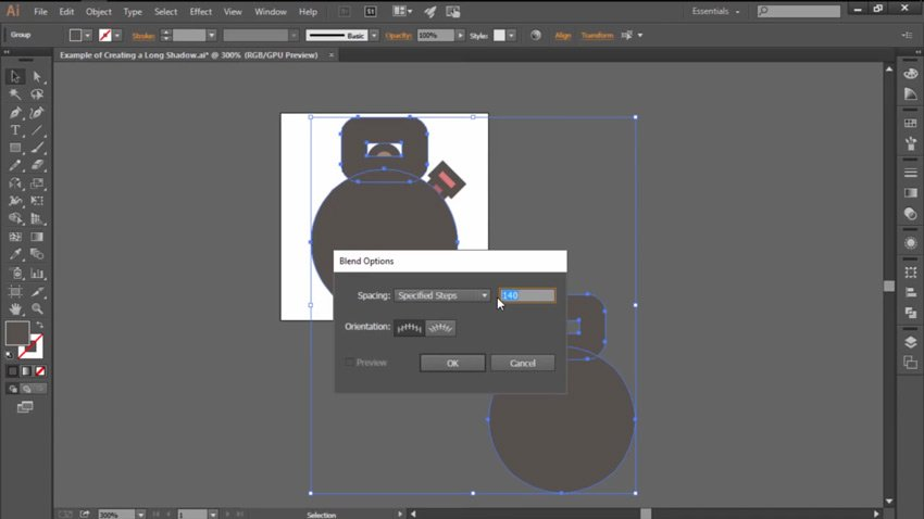 Working with the Specified Steps Spacing Method in Illustrator