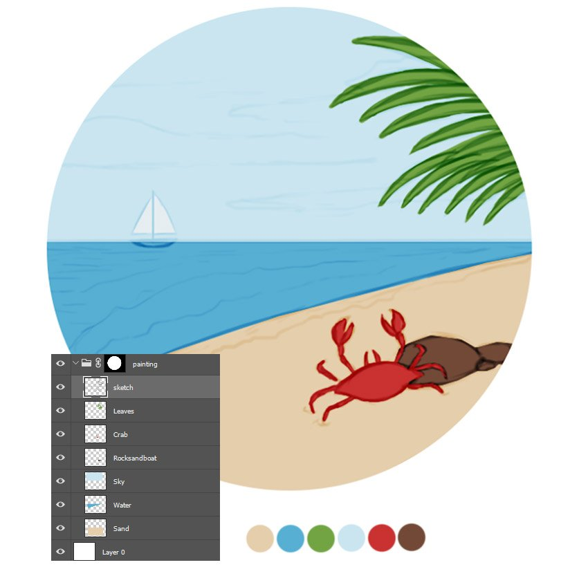 Paint the Base Colors for Your Beach Scene