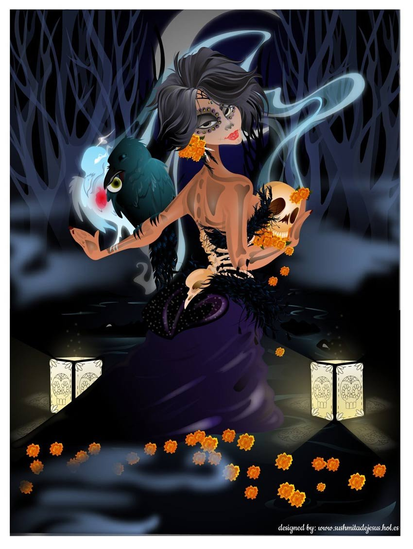 Adobe Illustrator Dia De Los Muertos Art by iamsushmita