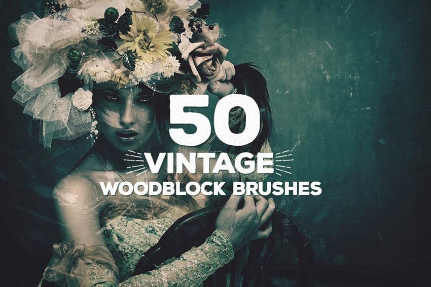 50 Vintage Woodblock Brushes