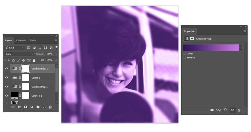 Add a Purple Gradient Map to your Photoshop Action