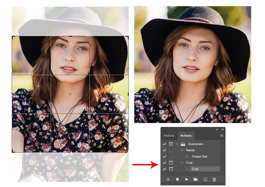 Finish Recording Your Crop Action Using a Preset