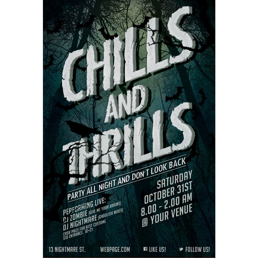 Chills and Thrills Halloween Party Flyer