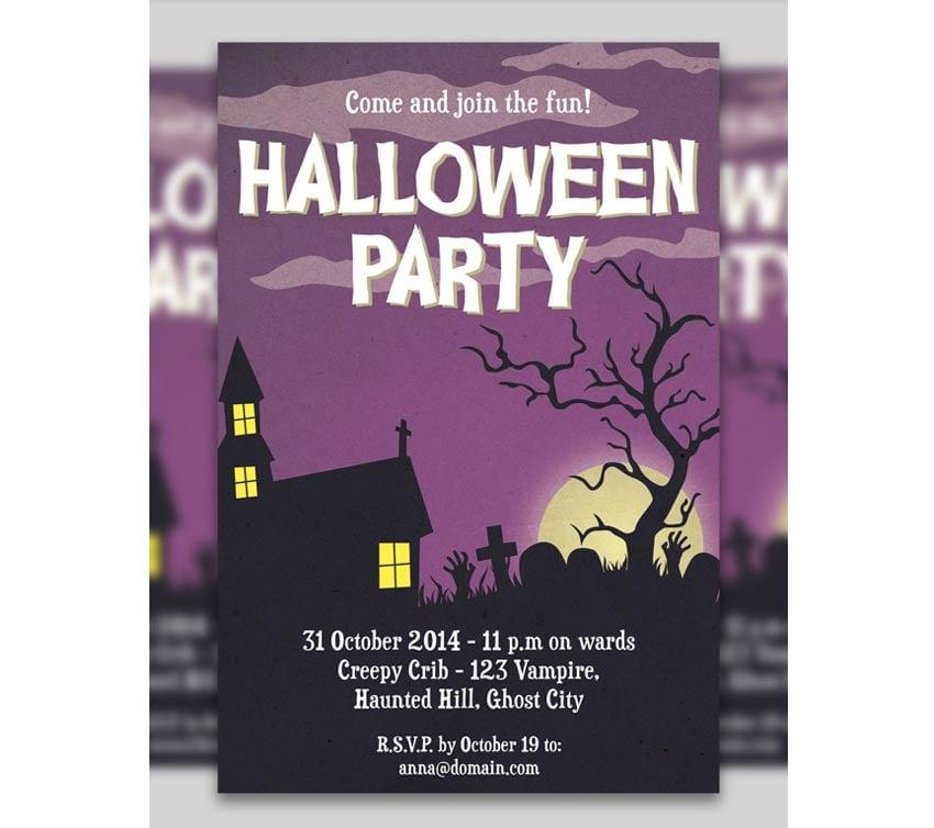 Purple Halloween Party Invitation