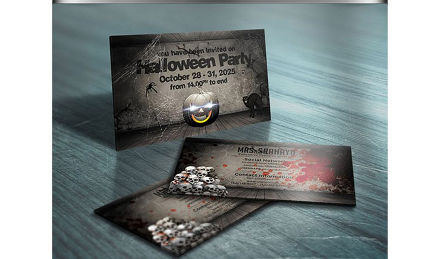 Halloween Business Card Party Invitation