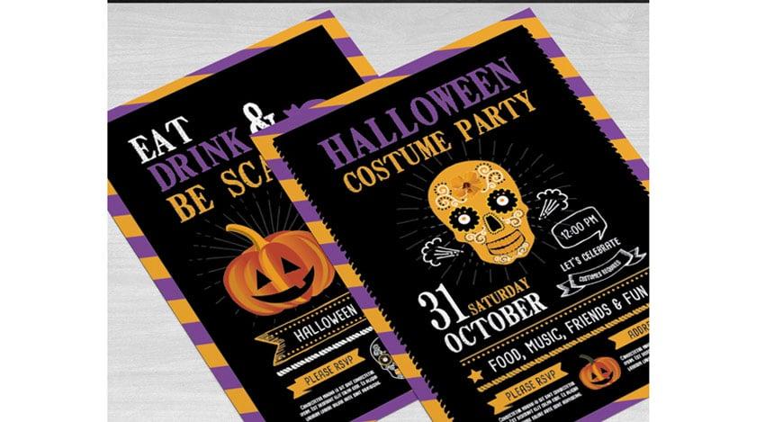 Striped Halloween Party Invitation