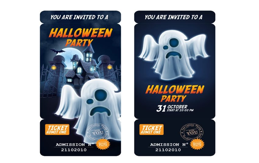 Admission Ticket Halloween Invite - Ghost Edition
