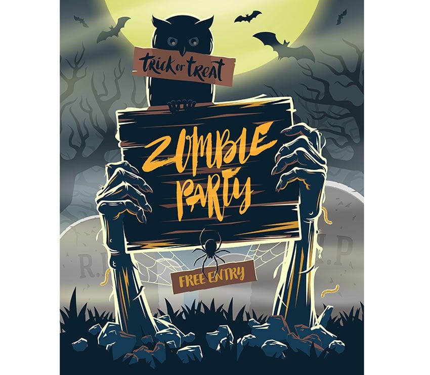Zombie Party Halloween Invitation Card